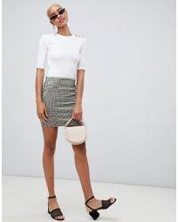 Stradivarius - Grey Check Print Tube Skirt Mini - Lyst