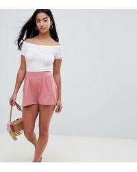ASOS - Asos Design Petite Culotte Shorts In Rose Pink - Lyst