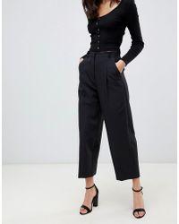 Miss Selfridge - Cropped Barrel Leg Trousers In Black - Lyst
