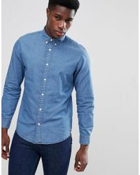 SELECTED - Slim Denim Shirt With Button Down Collar - Lyst