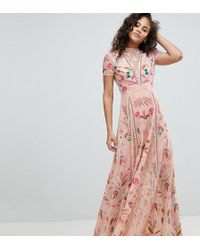 262a9926206 Frock and Frill - Allover Embroidered Plunge Front Maxi Dress - Lyst