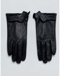 ASOS - Leather Knot Bow Gloves - Lyst