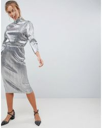 First & I - Silver Plisse High Neck Dress - Lyst