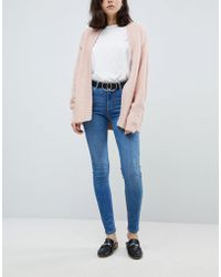 Pieces - Mid Rise Skinny Jean In Blue - Lyst