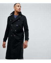 ASOS DESIGN - Tall Shower Resistant Longline Trench Coat With Belt In Black - Lyst