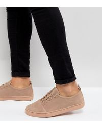 ASOS - Wide Fit Lace Up Trainers In Pink Suede - Lyst