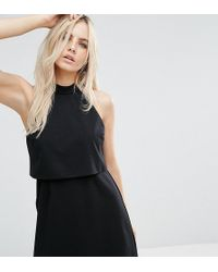 ASOS - Mini Dress With Crop Top Layer And High Neck - Lyst