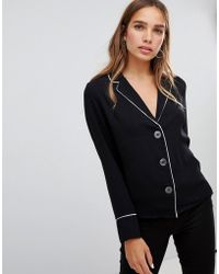 New Look - Contrast Piped Pj Shirt - Lyst