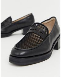 fce0b5170b27 Vagabond Dioon Black Leather Platform Block Heeled Loafer in Black ...