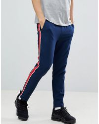 ASOS - Design Slim Cropped Trousers In Navy With Red Side Stripe - Lyst