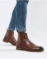 ASOS - Chelsea Boots In Brown Leather With Zips - Lyst