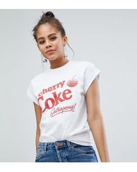 ASOS | Design Tall T-shirt With Cherry Coke Print In White | Lyst