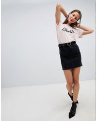 Pieces - Denim Mini Skirt - Lyst