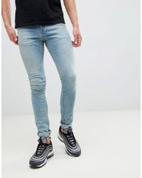 ASOS - Super Skinny Jeans In Mid Wash Blue - Lyst