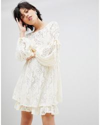 Free People - Ruby Lace Dress With Tie Sleeves - Lyst
