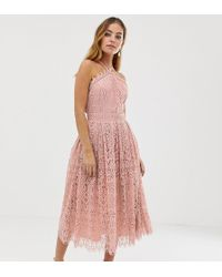 aaa1efed84b Lyst - ASOS Winter Forest Floral Pinny Midi Prom Dress in White