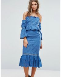 Foxiedox - Off The Shoulder Midi Dress With Ruffle Details - Lyst