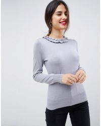 Oasis - Jumper With Frill Neck In Grey - Lyst