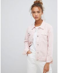WÅVEN - Lana Pink Denim Jacket With Wolf Embroidery - Lyst