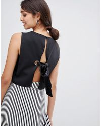 Girls On Film - Crop Top With Tie Back Detail - Lyst