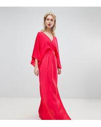 3efe71871fc9 In saldo Flounce London - Vestito lungo a portafoglio stile kimono con  spacco fino alla coscia - Lyst