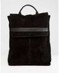 ASOS - Leather Belted Flap Backpack - Lyst