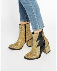 House of Holland - Thunder Gold Glitter Heeled Ankle Boots - Lyst