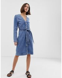 1c71519655e SELECTED - Femme Button Down Denim Dress With Tie Waist - Lyst