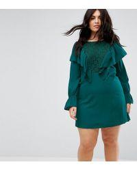 Madam Rage - Lace Insert Dress With Ruffle - Lyst