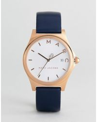 Marc Jacobs - Mj1609 Henry Leather Watch In Navy 36mm - Lyst