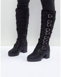 ASOS - Caution Buckle Heeled Knee High Boots - Lyst