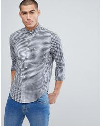 Abercrombie & Fitch - Buttondown Gingham Poplin Shirt Slim Fit Moose Logo In Navy - Lyst