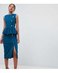 0e77d382de5 ASOS - Asos Design Tall Pencil Dress With Peplum And Button Detail - Lyst