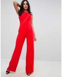 46d15f617004 Forever Unique - Tailored Flared Jumpsuit With Mesh Detail - Lyst