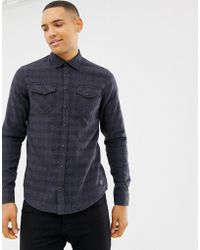 Blend - Slim Fit Check Shirt In Blue - Lyst