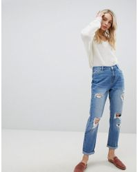 Urban Bliss - Distressed Mom Jeans In Light Wash - Lyst