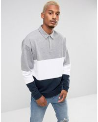 ASOS - Oversized Rugby Sweatshirt With Color Blocking - Lyst