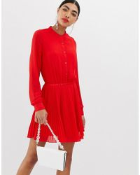UNIQUE21 - Unqiue21 Long Sleeve Collarless Pleated Dress - Lyst