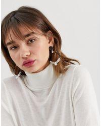 Reclaimed (vintage) - Inspired Tort Rhinestone Drop Hoop Earrings - Lyst