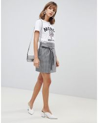Vero Moda - Check Wrap Front Belted Mini Skirt - Lyst