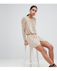 Flounce London - Sequin Mini Dress With Shoulder Pads In Gold - Lyst