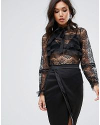 True Decadence - All Over Lace Blouse With Ruffle Detail - Lyst