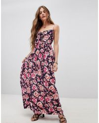 Band Of Gypsies - Tie Front Maxi Dress In Floral Print - Lyst