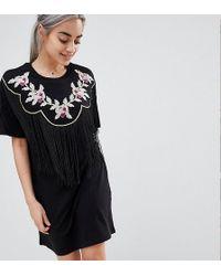 ASOS - Asos Design Petite Embroidered Yoke Western T-shirt Dress With Fringing - Lyst