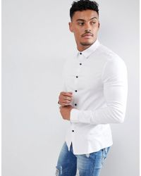 ASOS - Skinny Viscose Shirt In White - Lyst