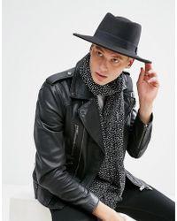 ASOS - Pork Pie Hat In Black With Diamond Crown - Lyst
