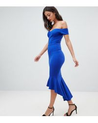 John Zack - Off Shoulder Ruffle Midi Dress - Lyst