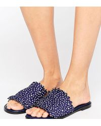 The March - Spot Pleated Slide Flat Sandals - Lyst