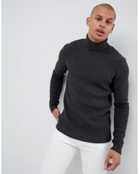 dd5c85400fef ASOS - Muscle Fit Waffle Textured Roll Neck Sweater In Charcoal - Lyst