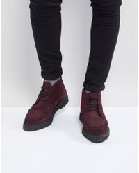 ASOS - Lace Up Boots In Burgundy Suede With Creeper Sole - Lyst